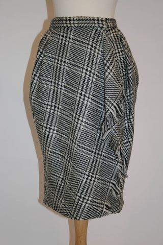 Vintage Anne Klein II Black and White Wool Skirt