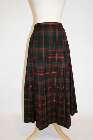 Vintage Pendleton Plaid Pleated Wool Skirt