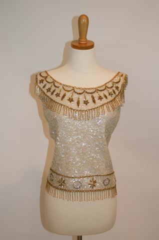 1950s Vintage Hand Beaded Sequin Cream and Gold Tank