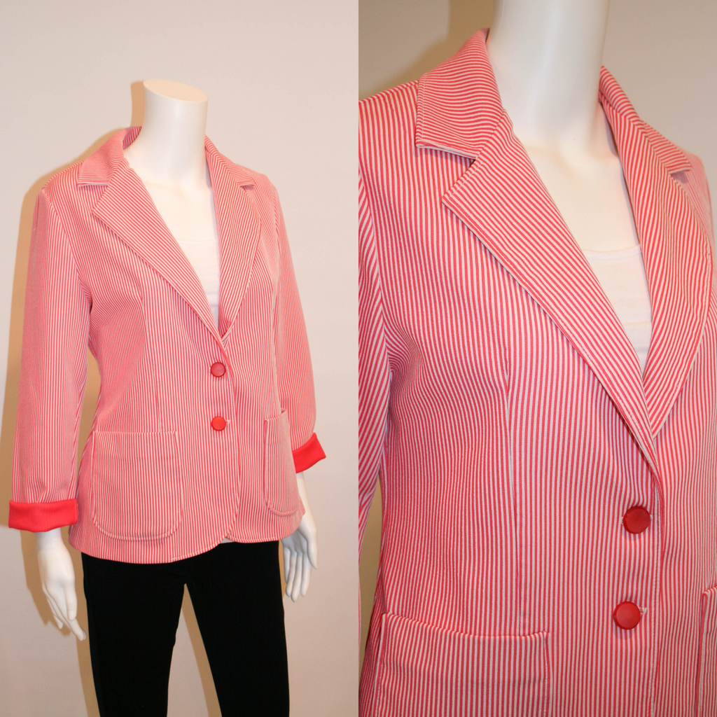Vintage Coral and White Striped Alfred Dunner Jacket