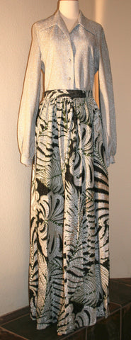 Silver Blouse and Maxi Skirt