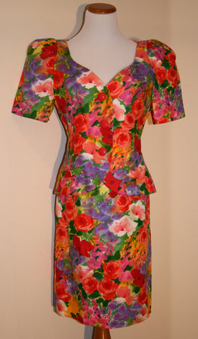 Ann Lawrence Floral Skirt Suit circa 1980s!
