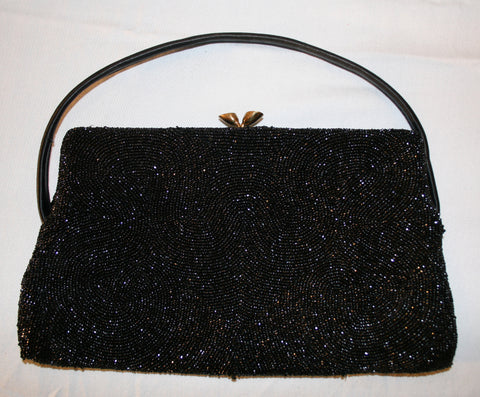 1950's Walborg Black Beaded Bag