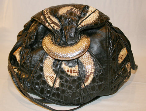 1980's Leather & Reptile Patchwork Purse