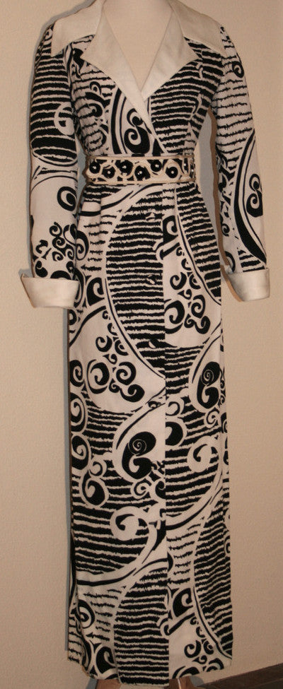 70's Black and White Maxi Dress - Vintage Swag Chics