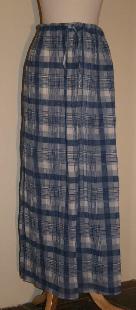 Gauzy Blue Plaid Broom Stick Skirt - Vintage Swag Chics