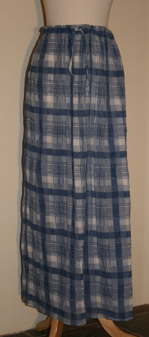 Gauzy Blue Plaid Broom Stick Skirt