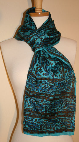 Vintage 70s Turquoise Scarf