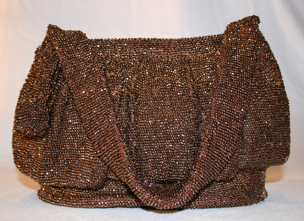 Vintage Bronze Colored Beaded Purse - Vintage Swag Chics