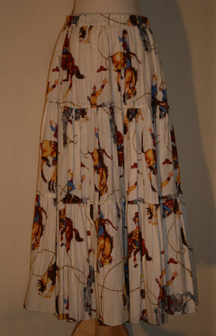 80's Western Print Broom Skirt