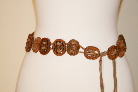 Vintage Walnut Shell Carved Belt with Leather