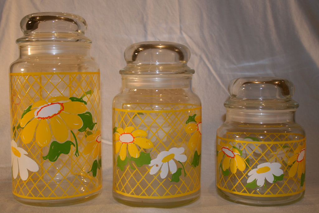 1970's Vintage Decorative Hildi Daisy Glass Canisters