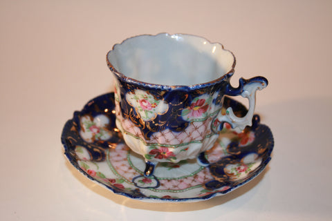Handpainted Footed Teacup & Saucer