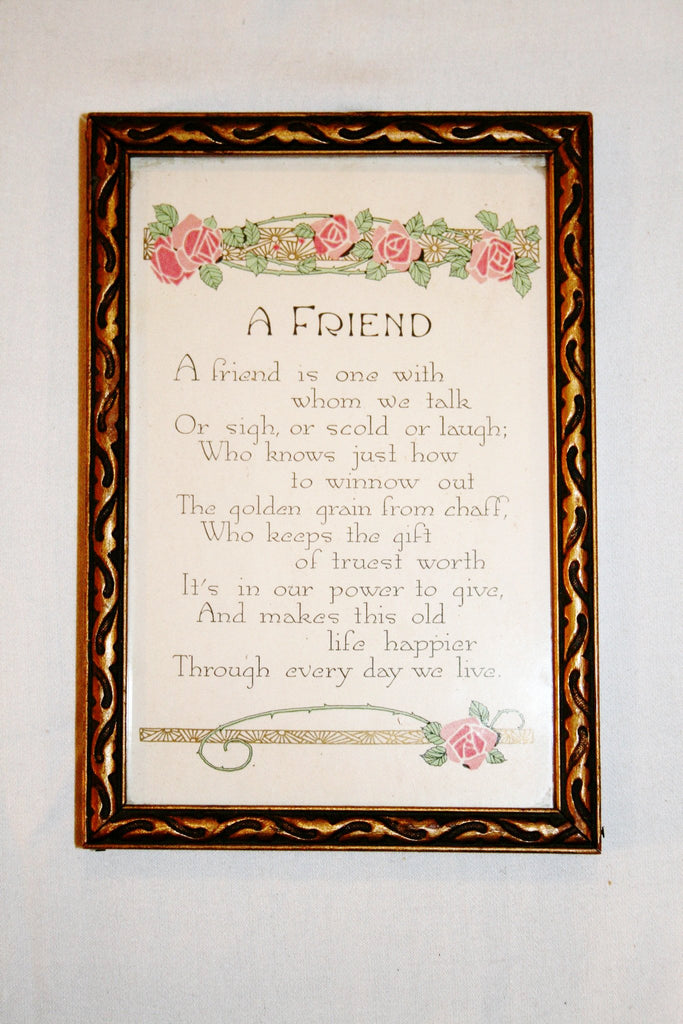 "Vintage Framed ""Friend"" Poem - Vintage Swag Chics"