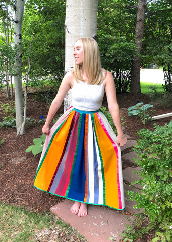 Vintage Josefa Striped Mexican Maxi Skirt