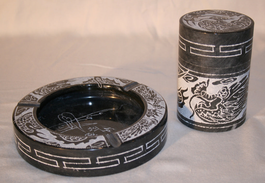 60's Asian Marble Smoking Set: Ashtray & Cigarette/Match Holder