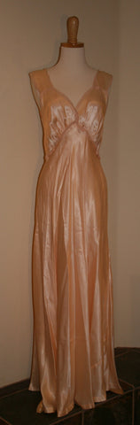 1940's Hour glass Rayon Satin Bias cut Nightgown