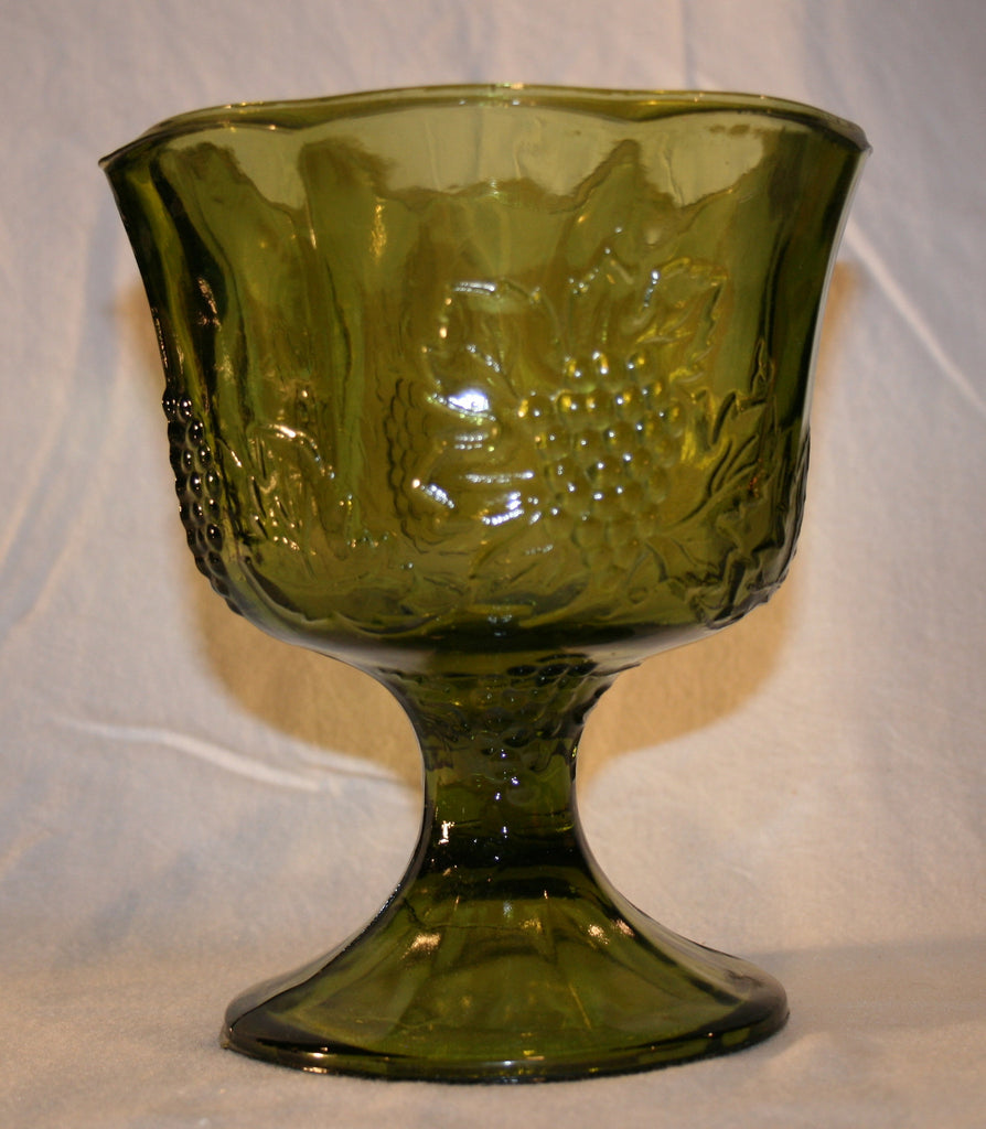 1970's Green Pressed Glass footed Vase with Grape Pattern - Vintage Swag Chics