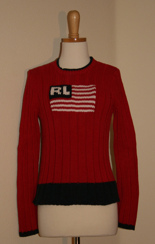 Vintage Polo Jean Company - Patriotic USA flag sweater - Vintage Swag Chics