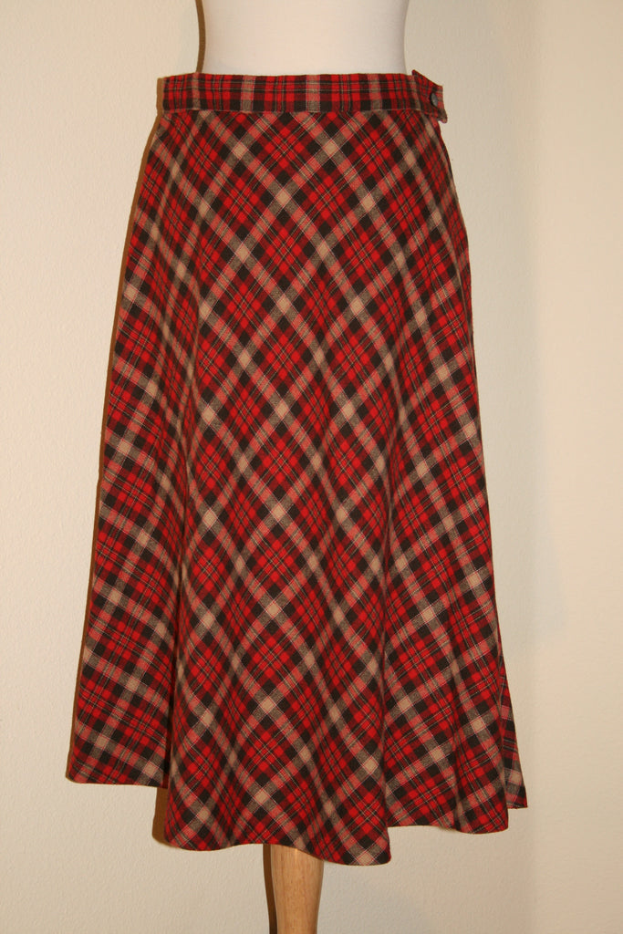 Red Plaid Skirt - Vintage Swag Chics