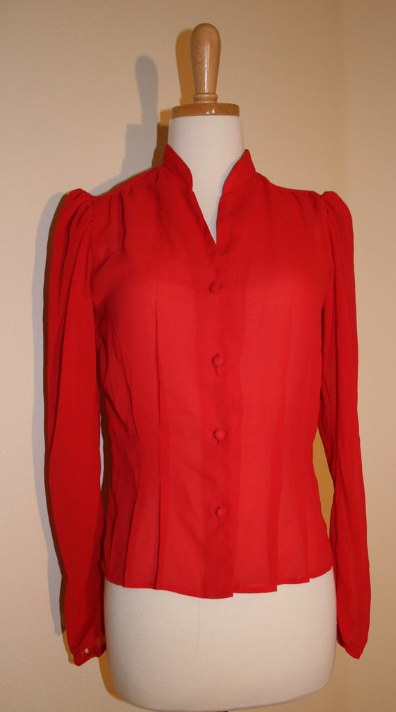 1980's Sexy Sheer Red Blouse