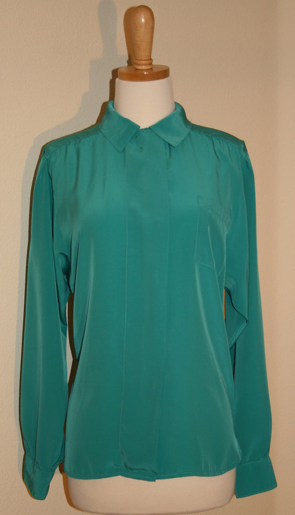 """The Villager"" Silky Aqua Blouse - Vintage Swag Chics"