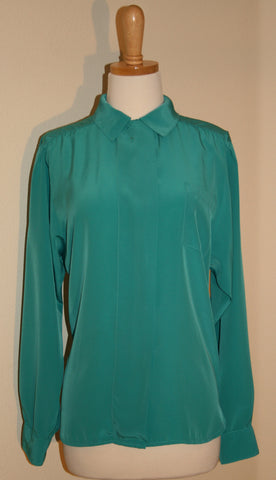 """The Villager"" Silky Aqua Blouse"