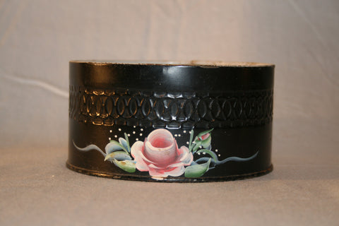 Vintage Rose Tole Hand painted Metal Bowl