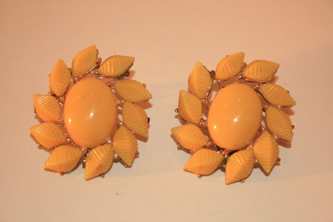 Sunshine Yellow Clip Earrings
