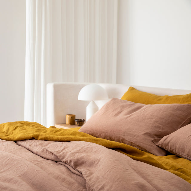 Linen Flat Sheet with Border - Mustard