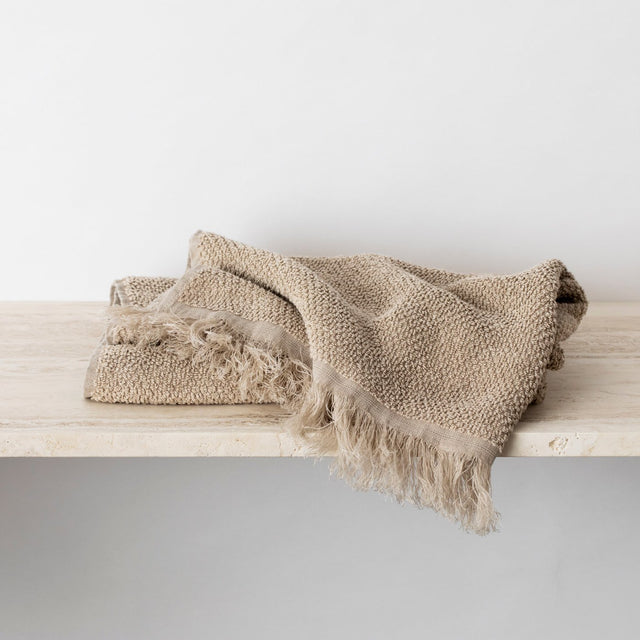 Folded Linen Towel in Natural