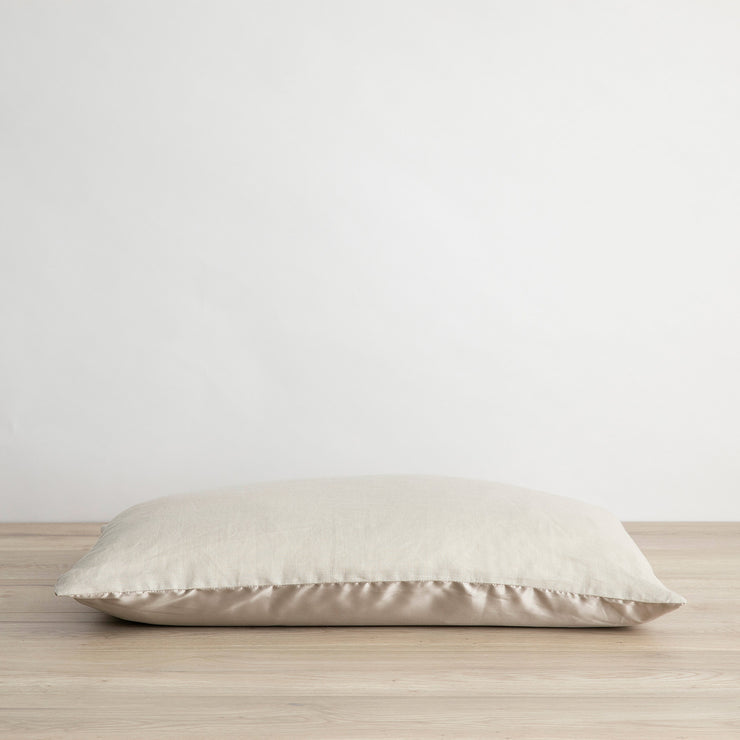 Silk Linen Flip Pillowcase in Smoke Grey