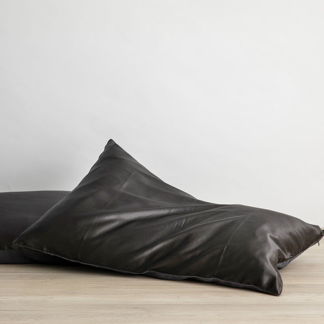 Silk Linen Flip Pillowcase in Slate
