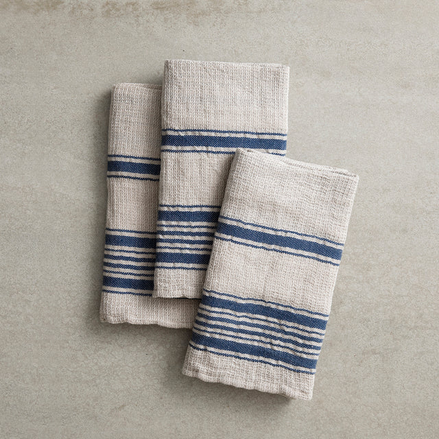 Set of three folded Turkish tea towels