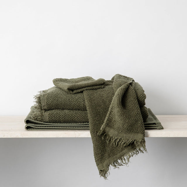 Forest Pure Linen Bath Towel bundle stacked