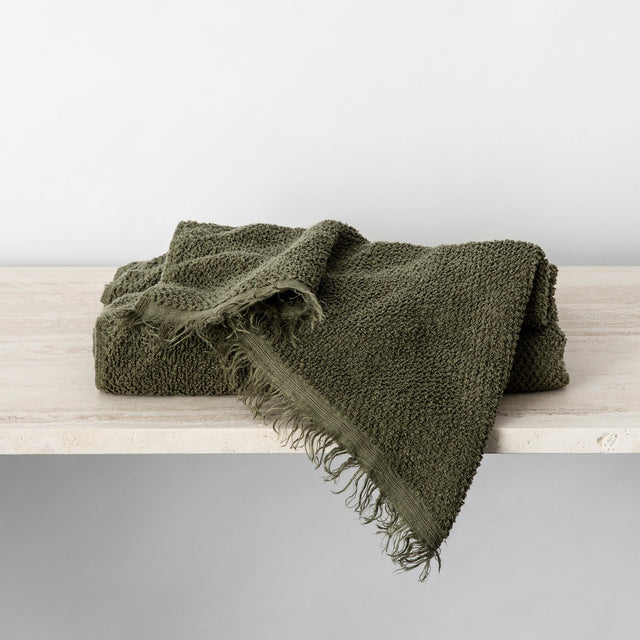Pure Linen Bath Towel in Forest colour folded