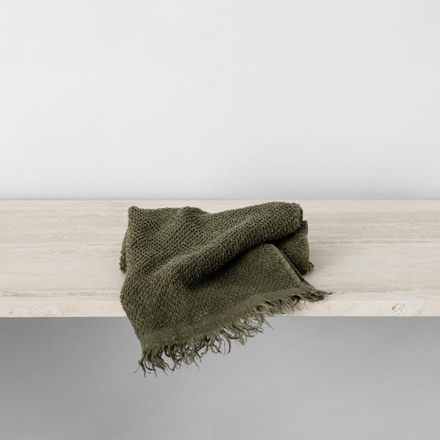 Pure Linen Hand Towel in Forest colour folded