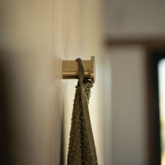 Forest Pure Linen Bath Towel hanging on a hook