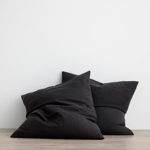 Set of 2 Linen Euro Pillowcases - Black
