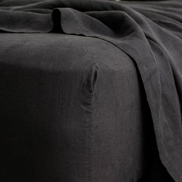 Linen Fitted Sheet - Black
