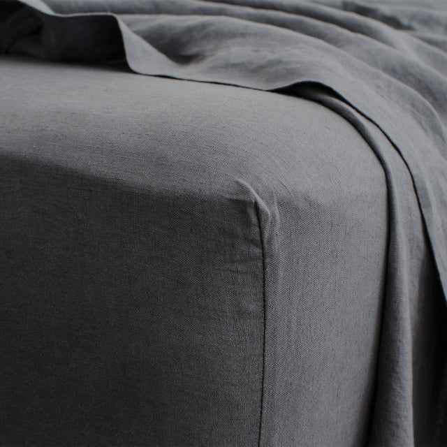Linen Fitted Sheet - Slate