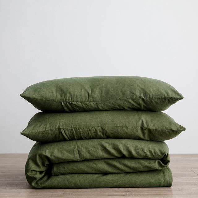 Linen Duvet Cover Set with Pillowcases in Forest