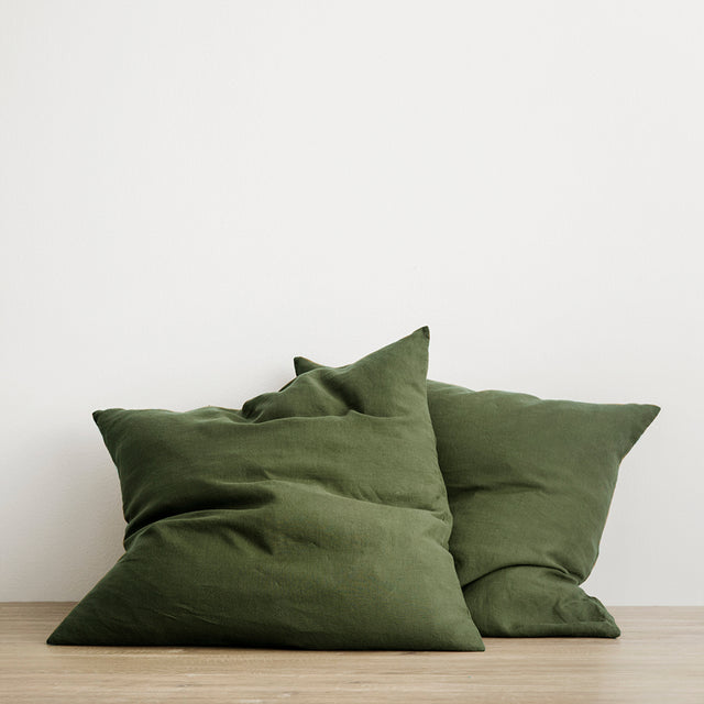 Set of 2 Linen Euro Pillowcases in Forest