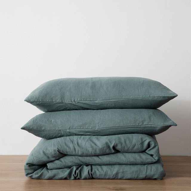Linen Duvet Cover Set - Bluestone