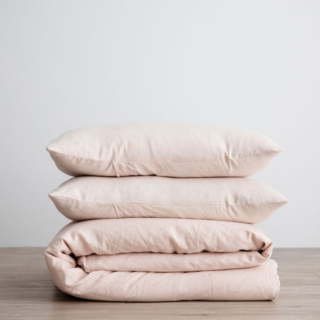 Linen Duvet Cover Set - Blush