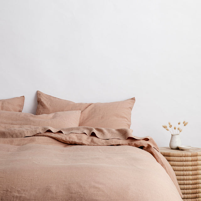 Bed styled with Fawn Duvet Cover set and Fawn Sheet Set.