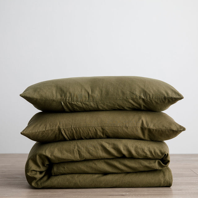 Linen Duvet Cover Set - Olive