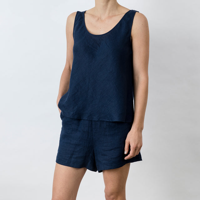 Piper Linen Singlet - Midnight