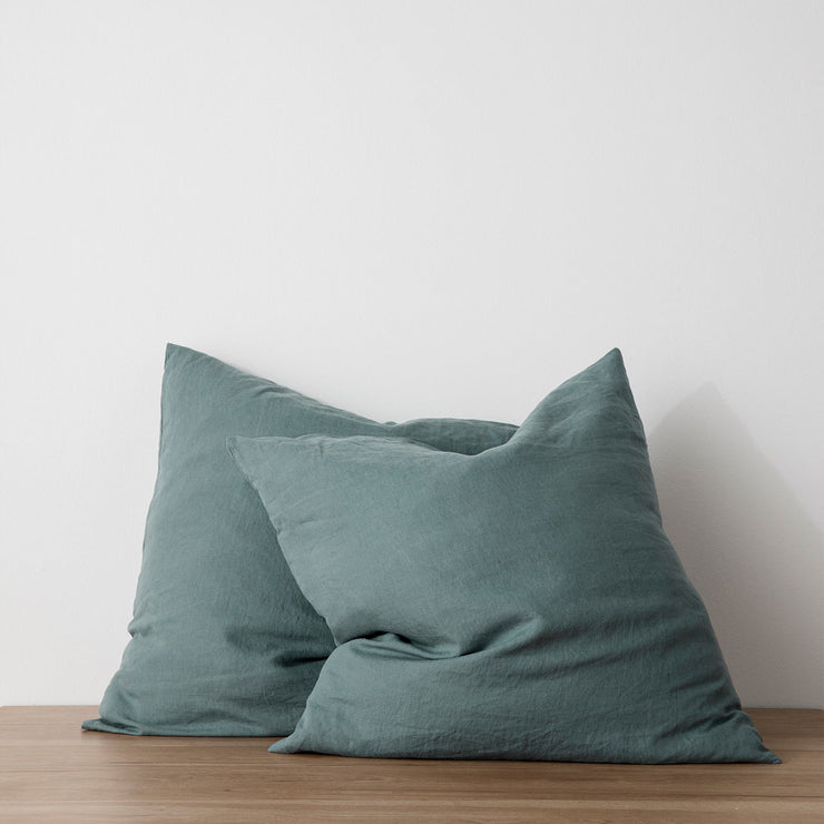 Set of 2 Linen Euro Pillowcases - Bluestone