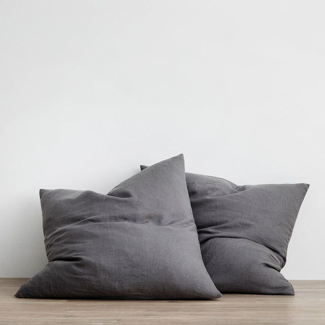 Set of 2 Linen Euro Pillowcases - Charcoal Grey